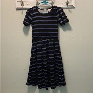 Black and Blue Striped Lularoe Amelia